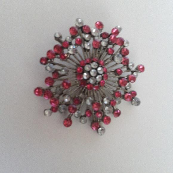Vintage Silver, Pink, and Rhinestone Sunburst